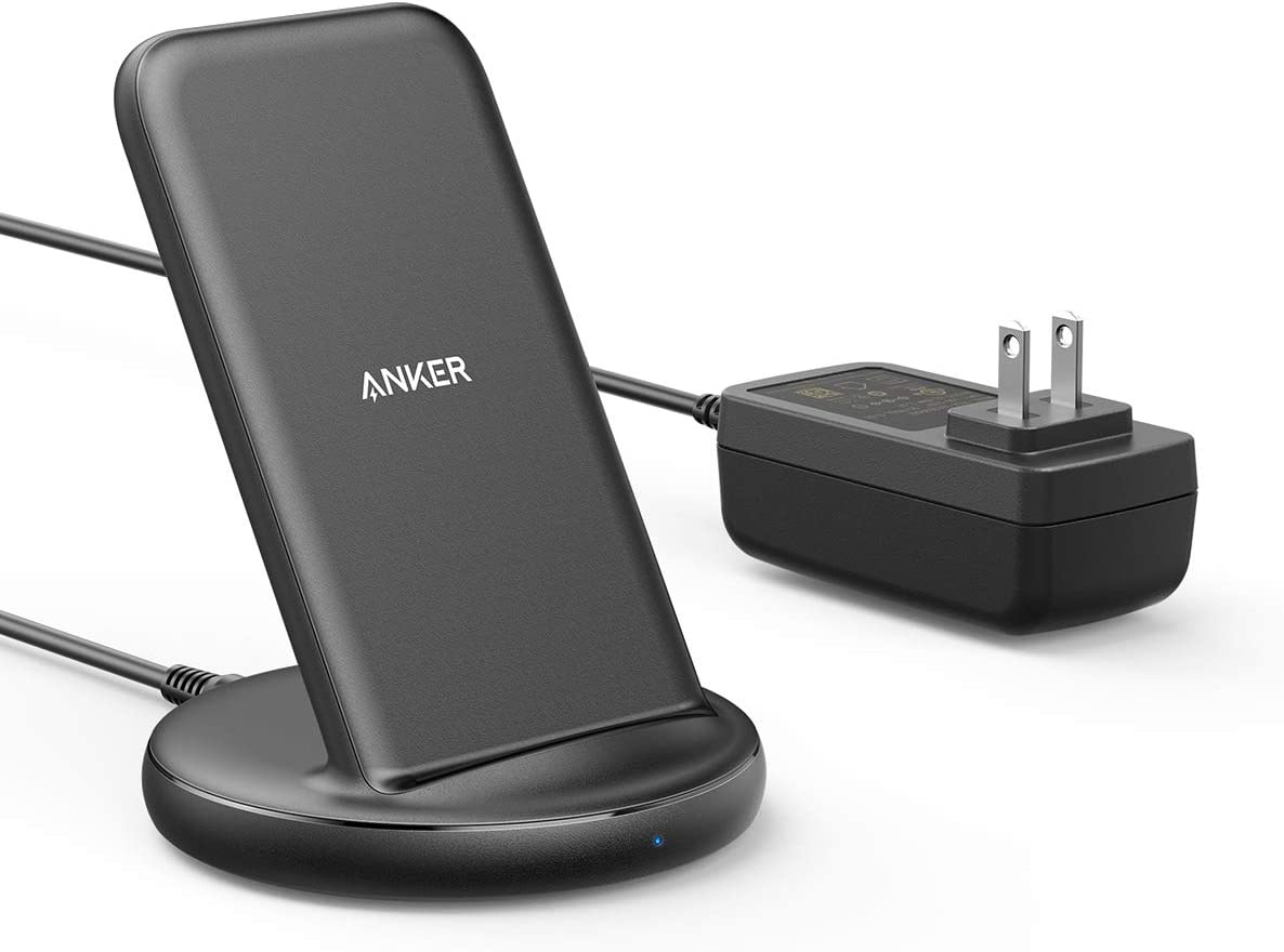 Anker Wireless Charger with Power Adapter, PowerWave II Stand, Qi-Certified 15W Max Fast Wireless Charging Stand for iPhone 11, 11 Pro, Xs, Xs Max, XR, X, 8, Galaxy S10 S9 S8, Note 10 Note 9 & More