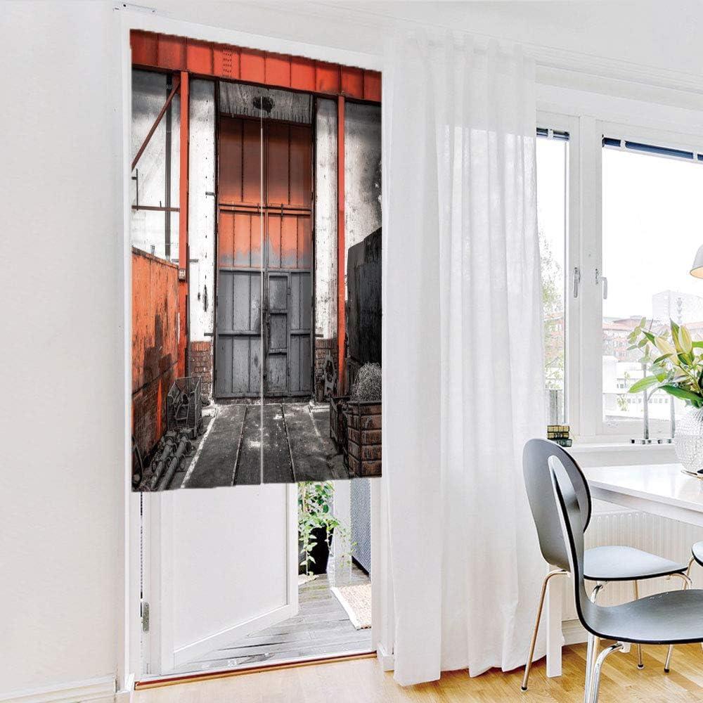 iPrint Cortina de puerta (dos paneles) de moda, industrial, almacenamiento oxidado almacén con puerta grande puerta estructura envejecida máquinas de imagen decorativa, multicolor, personalizado personalizable, 27,6 x 35,4 cm: Amazon.es: Hogar