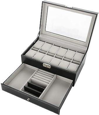 Caja para Relojes, Doble Capa Estuche para Relojes, para Anillo Collar Pulsera Regalo, Resistente y Seguro Cerradura, Organizador para Reloj: Amazon.es: Joyería
