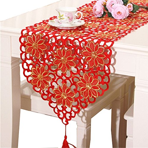 Dining Room Wide Cabinet - BeautiLife Home Fashions Flower Embroidered Cutwork Spring Table Runner Cabinet Room Dining Room Table Decoration