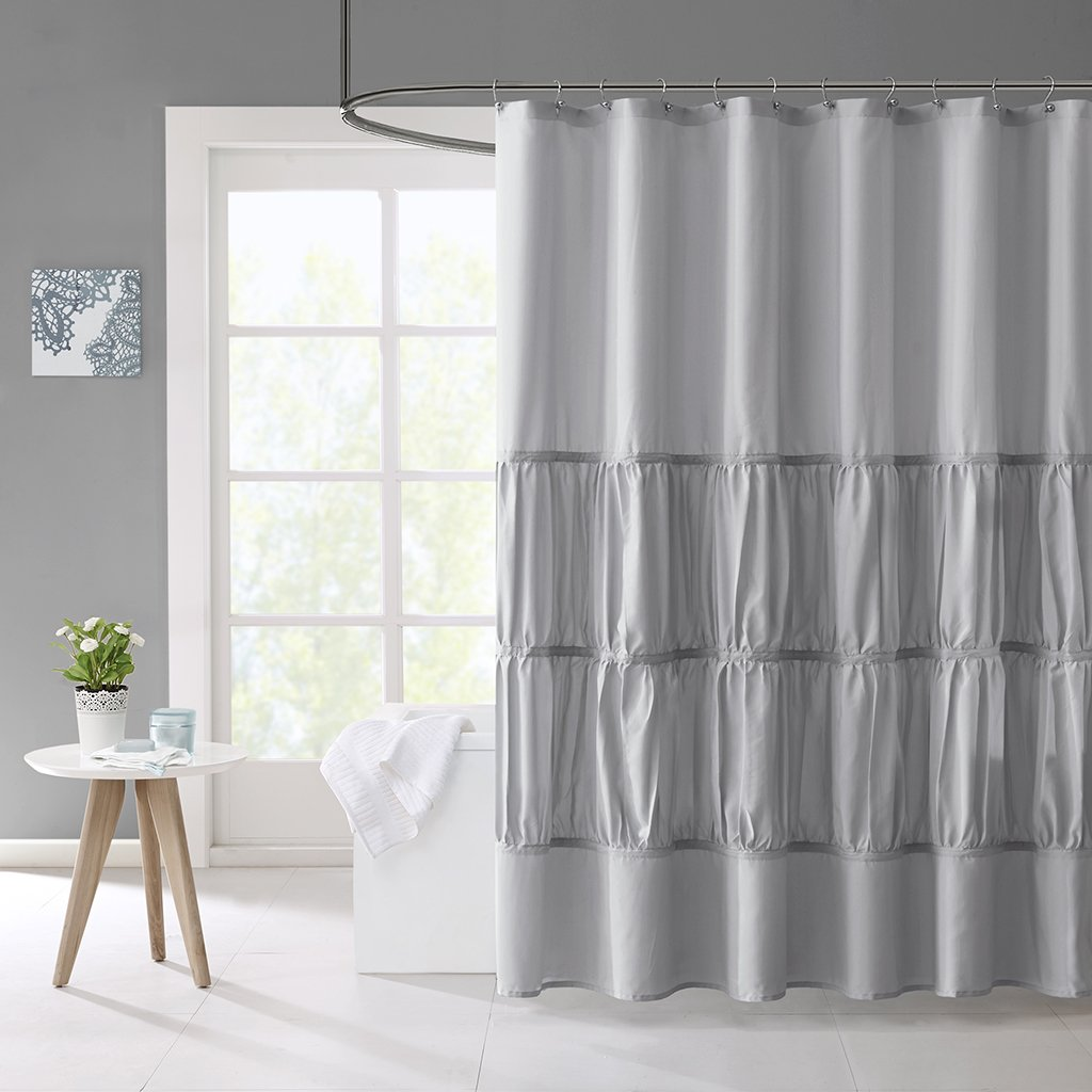 Mirimar Solid Grey Shower Curtain, Casual Shower Curtains for Bathroom, 72 X 72, Gray