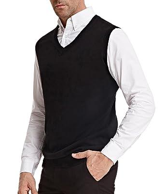 21c4b4f9fe935 PAUL JONES Men s V-Neck Knitting Vest Classic Sleeveless Pullover Cardigan  Sweater