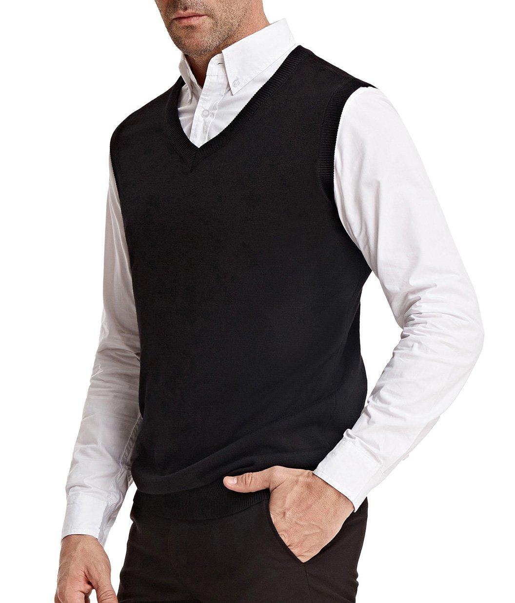 PAUL JONES Men's Soft V-Neck Sweater Vest Waistcoat Sleeveless Size L Black