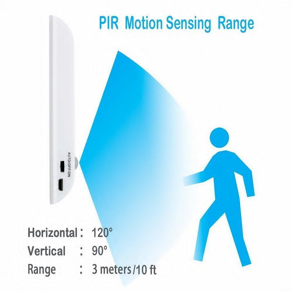 Lámpara de armario, sensor de movimiento, luz de gabinete LED, diseño portátil de bricolaje Fácil de instalar, luz de noche recargable de USB para: ...