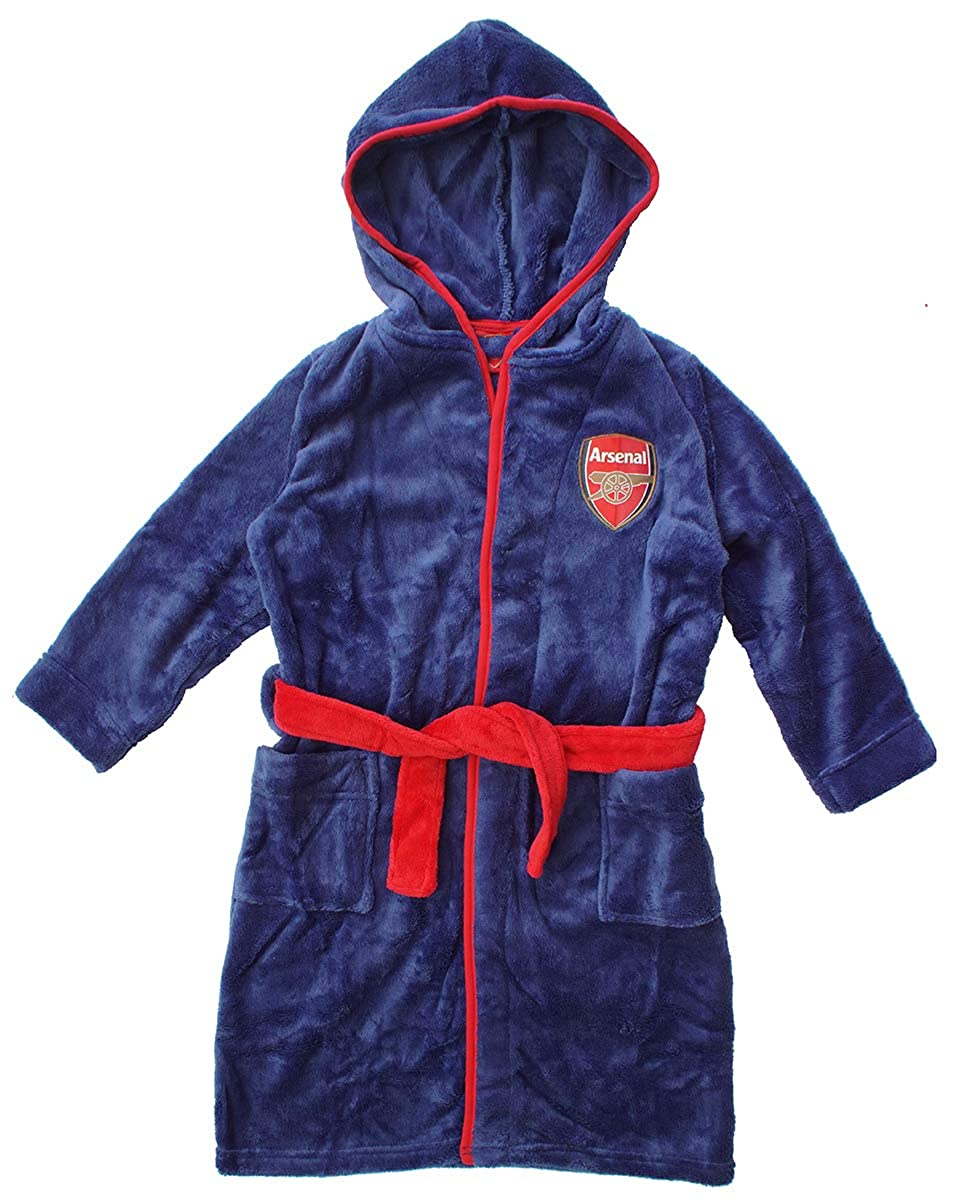 Boys Official Arsenal FC Gunners Hooded Dressing Gown Bath Robe Sizes from 3 to 12 Years