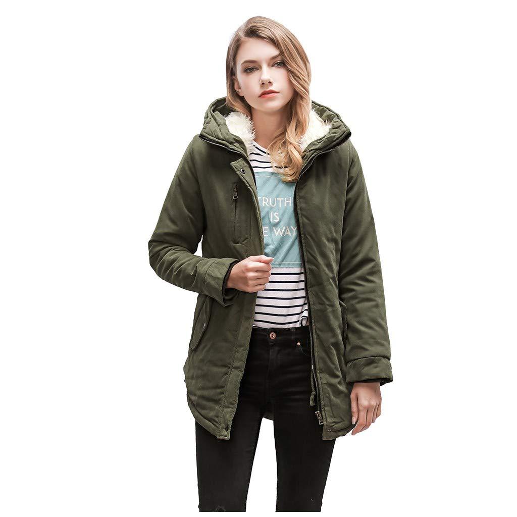 IEason Womens Casual Long Sleeve Warm Hooded Coat Slim Winter Fleece Outwear Jacket Army Green by IEason Women Coat
