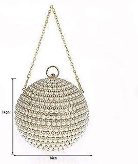 YU Borse da Donna ABS + Pc Borsa da Sera Pearl Detailing per Wedding Event/Party all Season Oro Nero Argento Rosso,A,Taglia Unica