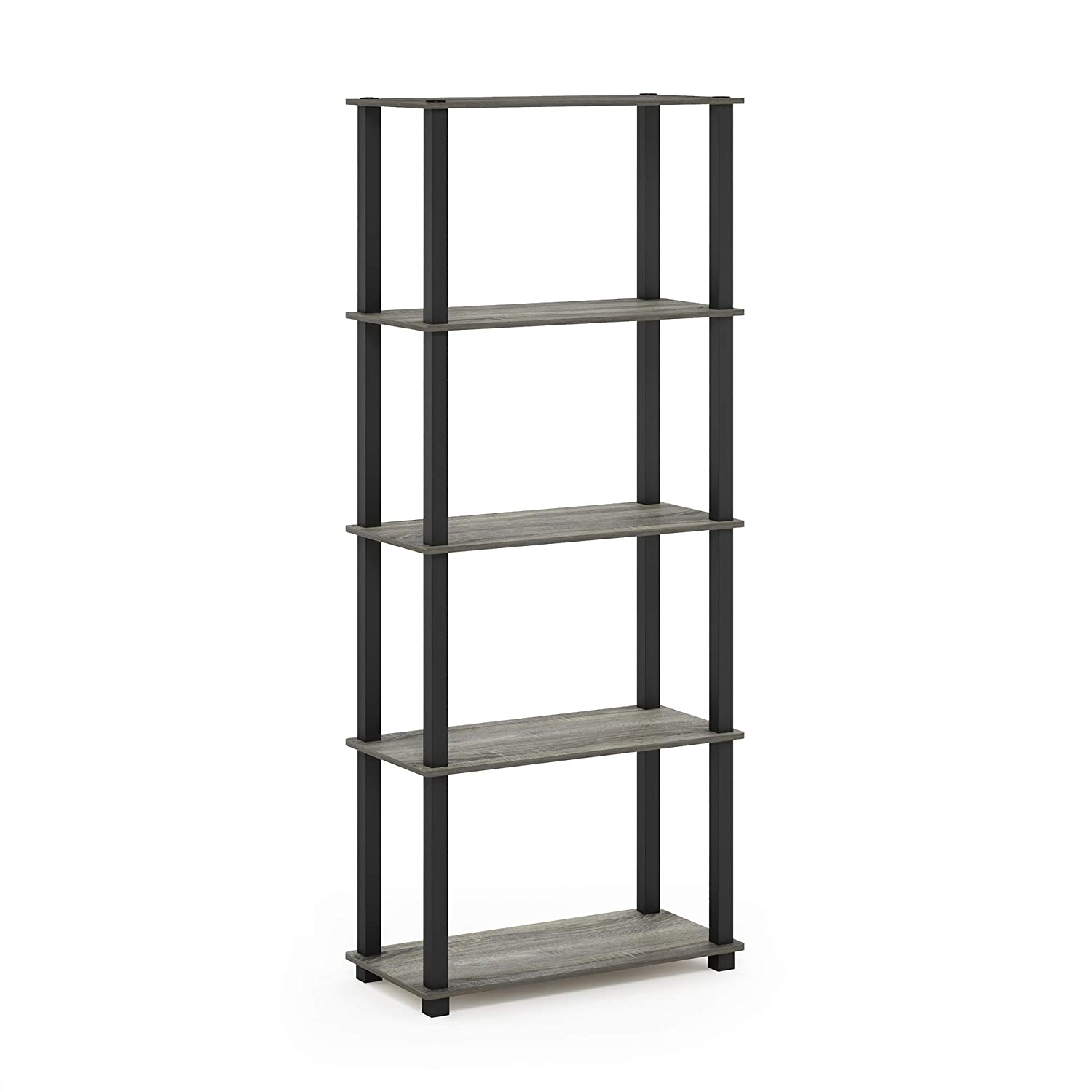 Furinno Turn-S 5-Tier Multipurpose Shelf Display Rack with Square Tubes, French Oak Grey/Black