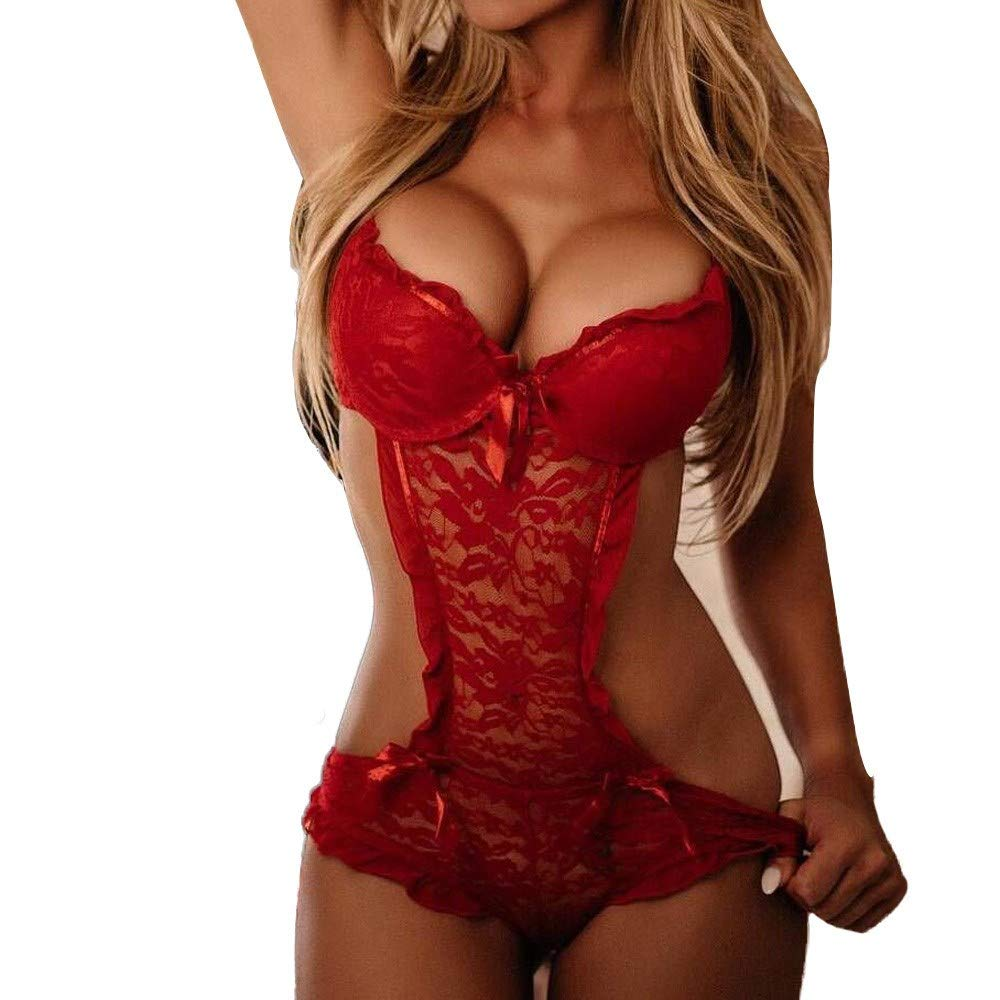 WKDYBD Women Sexy Lace Lingerie Push Up Teddy Bodysuit Backless Babydoll Nightwear Adjustable Cross Strap Underwear Red