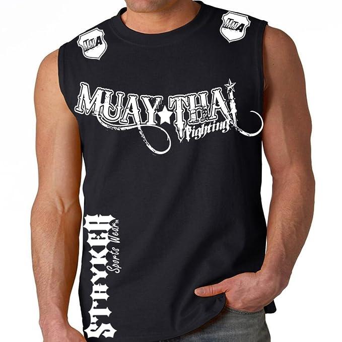8eb59c08 Muay Thai Fighting Black Muscle Sleeveless Shirt White Logos Tapout MMA UFC  Tank Top (3XL