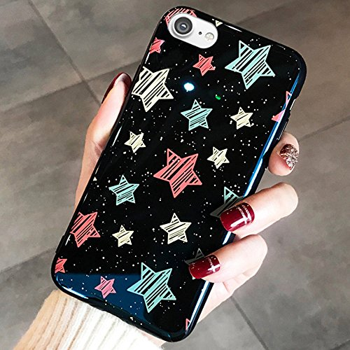 iPhone 8 Case,iPhone 7 Case,ikasus Love Heart Stars Painting Slim Flexible Soft Silicone Bumper Shockproof Gel TPU Rubber Shiny Sparkly Glossy Plating Skin Cover Case for iPhone 8/7,Black Stars -