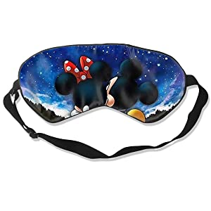 JINUNNU Mulberry Silk Sleep Mask and Blindfold Mickey and Minnie Comfortable and Super Smooth Eye Mask with Adjustable Strap