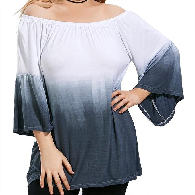 4c665c53931b Kolylong Übergröße Blusen Damen Elegant Trägerlos Blusen Groß Größe  Langarmshirts Vintage Schulterfreie Sweatshirt Plus Size T