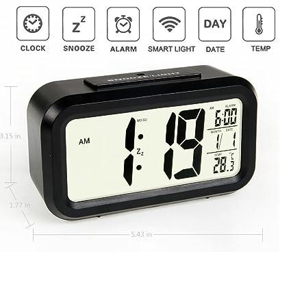 Qsewid 5.3- Reloj simple de uso silencioso con LED, alarma, indicador de