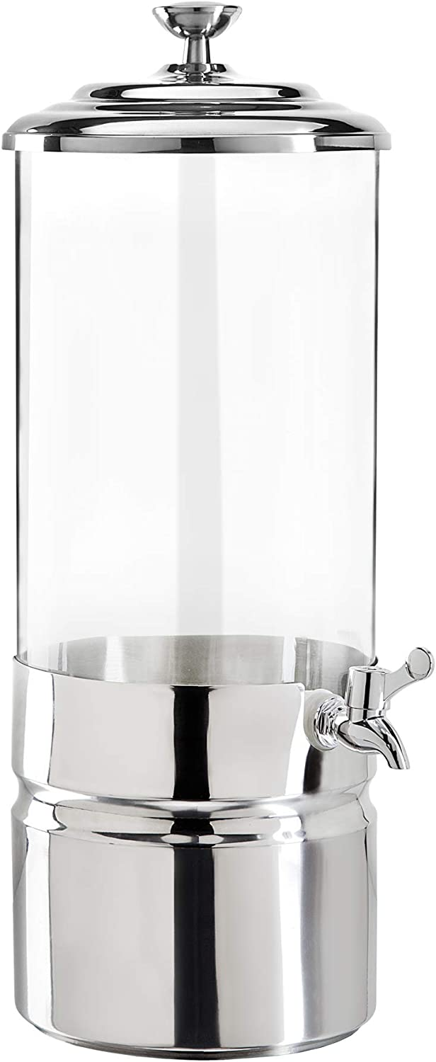 Godinger Uno Iced Beverage Dispenser, Cold Drink Dispenser, Stainless Steel and Glass - 2 Gallons