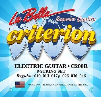 Traje cuerdas para guitarra eléctrica Criterion la Bella c200r Calibre regular 010 - 046 8 String Juego: Amazon.es: Electrónica