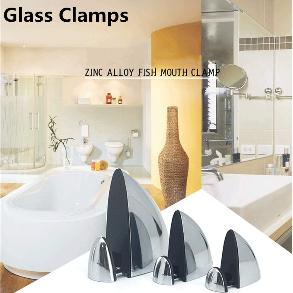 6 Pcs Glass Clamps Glass Shelf Bracket Adjustable 3-13mm Thickness Fish Mouth Shape Clips