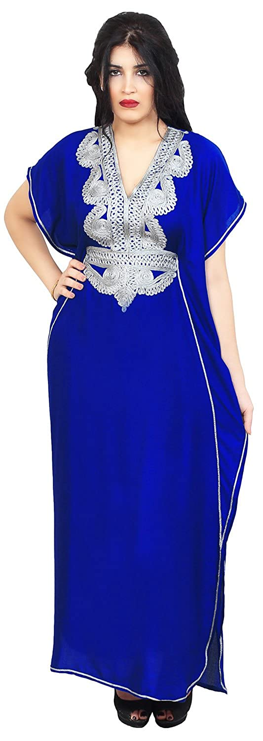 Moroccan Caftans Handmade Cotton Silver Hand Embroidery Breathable Soft Royal Blue Maria Caftan Royal Blue