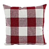 Hangood Throw Pillow Case Cushion Covers Cover Cotton Linen Plaid Red 18 X 18 inches