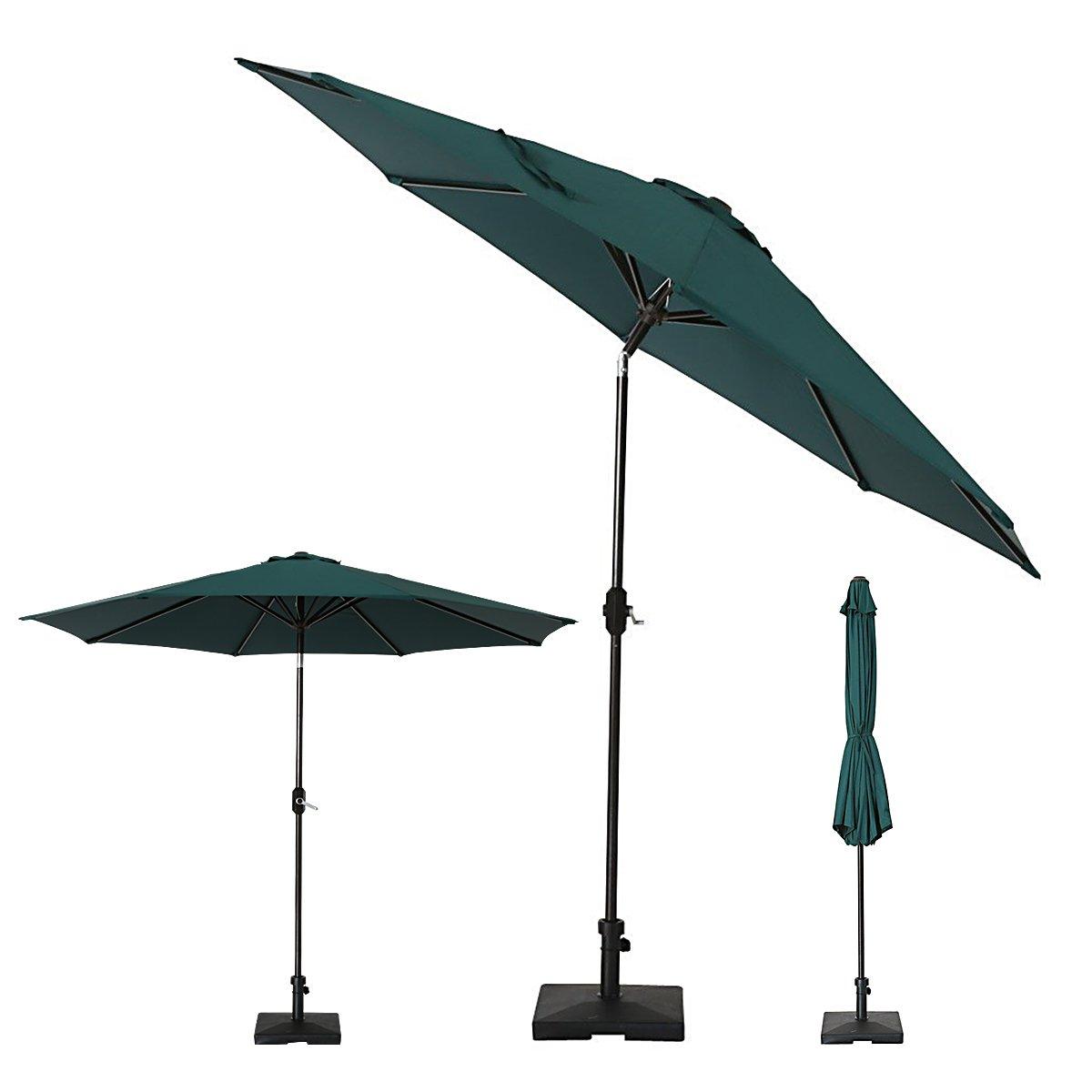 SUMBEL Outdoor Umbrella 9 Feet Aluminum Market Umbrella Table Umbrella with Push Button Tilt for Patio, Garden, Deck, Backyard, Pool, 100% Polyester, Green