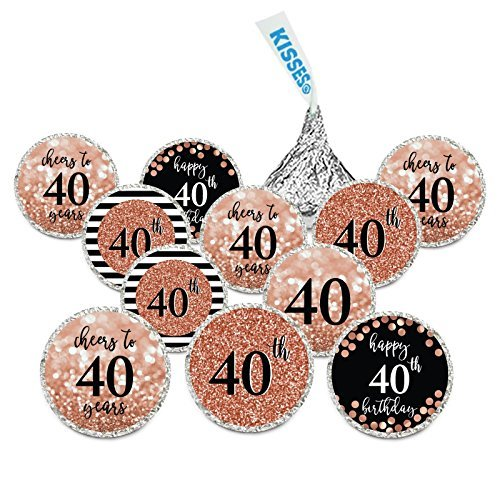 Custom Label Chocolate - Andaz Press Glitzy Faux Rose Gold Glitter Milestone Chocolate Drop Labels, Cheers to 40 Years, 40th Birthday or Anniversary, 240-Pack, Not Real Glitter, Hershey's Kisses Party Colored Decorations