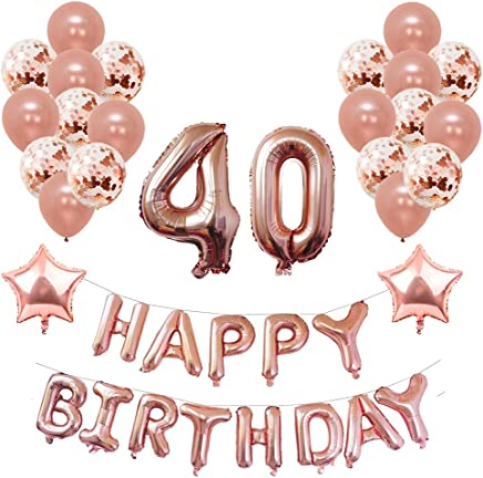 Yoart 40th Birthday Decorations Rose Gold for Women and Girl Party Supplies 39 Piece with Happy Birthday Banner Confetti Latex Balloons Star Foil Balloons