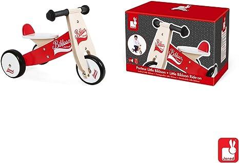 Janod - Bicicleta sin pedales Bikloon, madera, color rojo / blanco ...