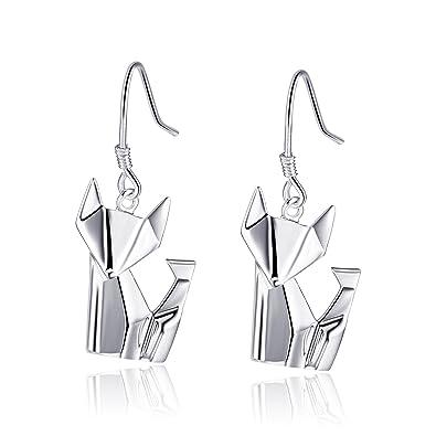 30742b463 Amazon.com: 925 Sterling Silver Fox Drop Women Pierced Dangling Earrings  Jewelry Gift (White Gold): Jewelry