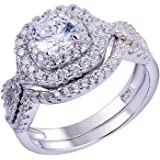 Newshe Wedding Band Engagement Ring Set for Women 925 Sterling Silver 1.8Ct Round White AAA Cz Size 5-10