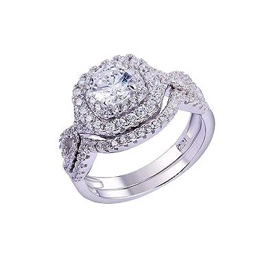 Amazon.com: Newshe conjuntos de joyas, anillo de compromiso ...