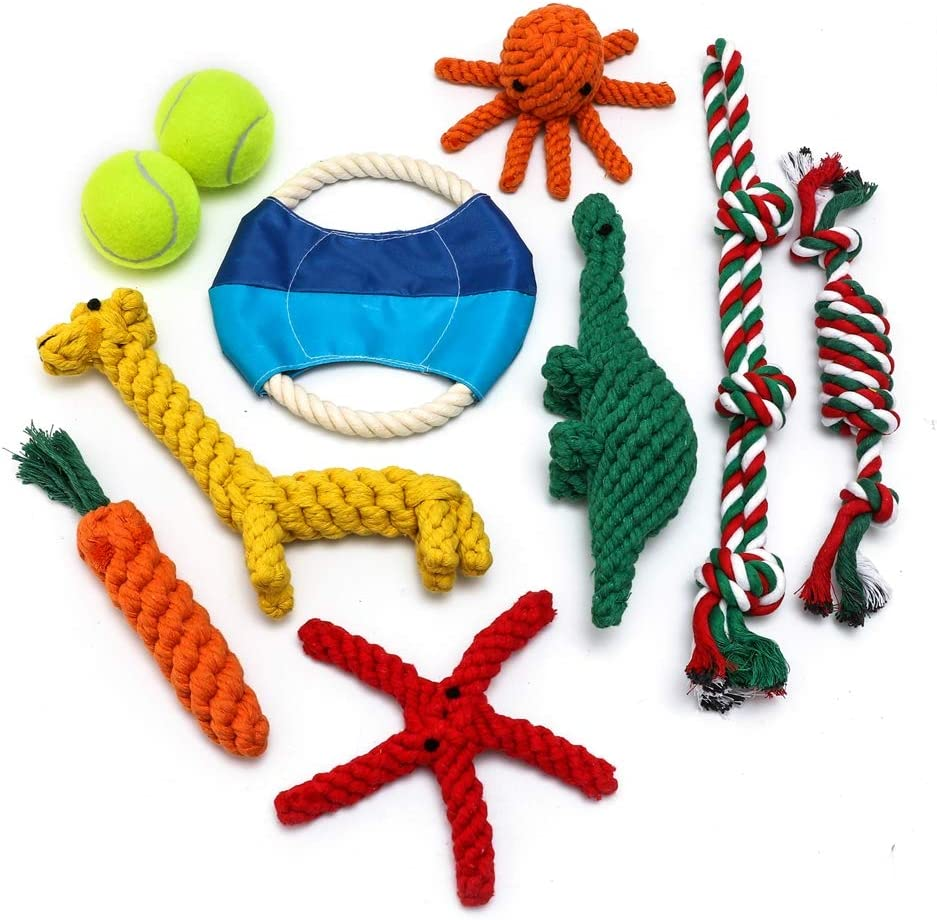 Dog Rope Toy,Chew Rope Toys Pack Gift Set Cotton Chew Toy for Puppy Medium Tennis/Dinosaur/Star/Carrot/Frisbee/Octopus/Giraffe/Candy Teething Cleaning and Training(10 Pack)