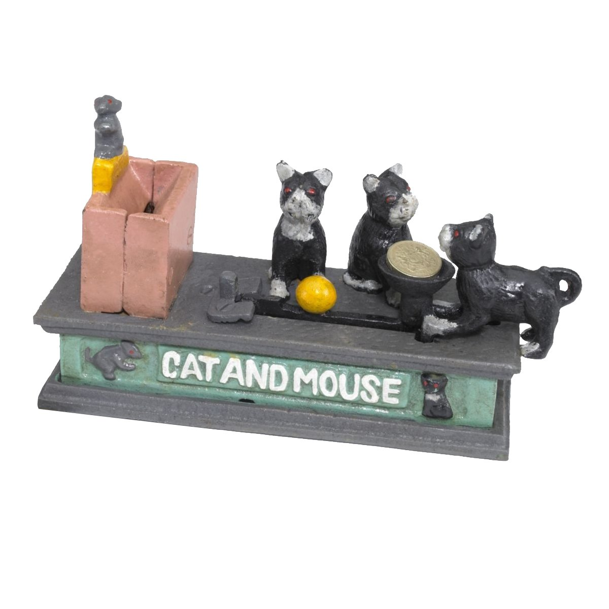 Design Toscano Cat and Mouse Mechanical Bank, 7 Inch, Faux Aged