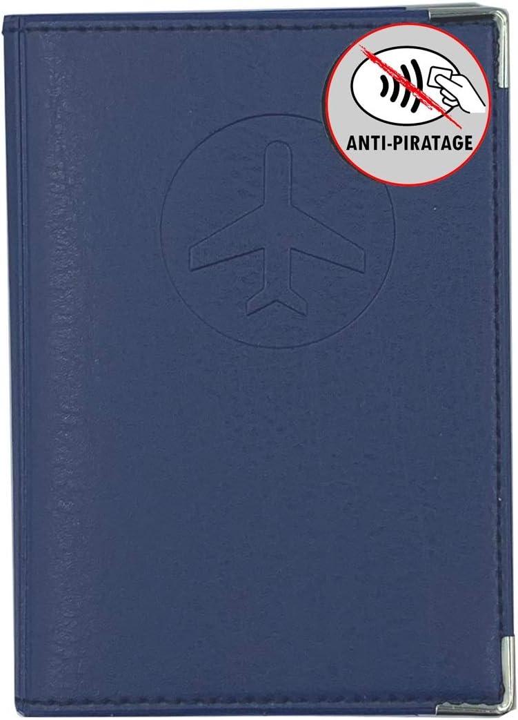 Prot/ège Passeport blind/é Bleu Marine Anti-piratage Fabrication Fran/çaise Simili Cuir Voyages Protection Anti RFID