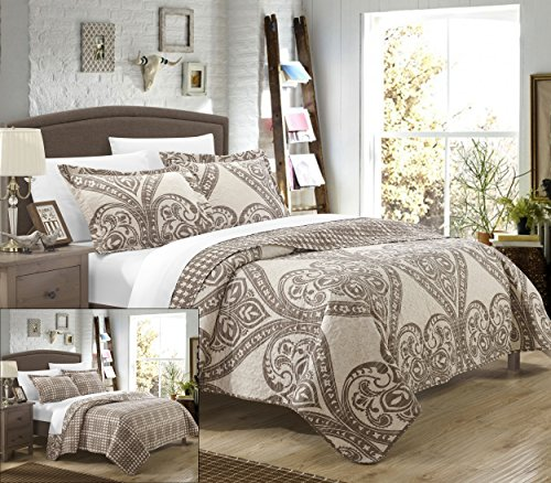 Chic Home 7 Piece Napoli REVERSIBLE printed Quilt Set. Front a traditional pattern and Reverses into a houndstooth pattern, King, Beige