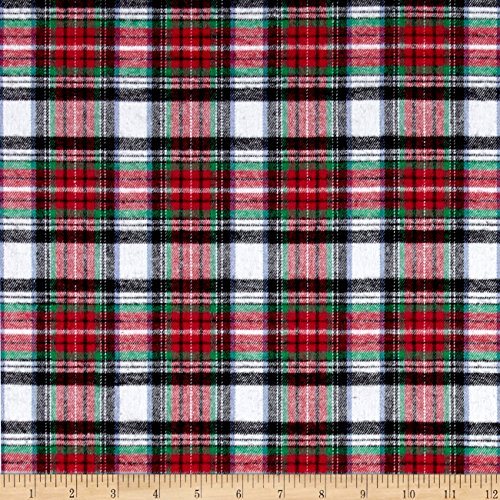 Richland Textiles Yarn Dyed Flannel Plaid Red White Black Fabric By The Yard (Plaid Fabric Red Flannel)