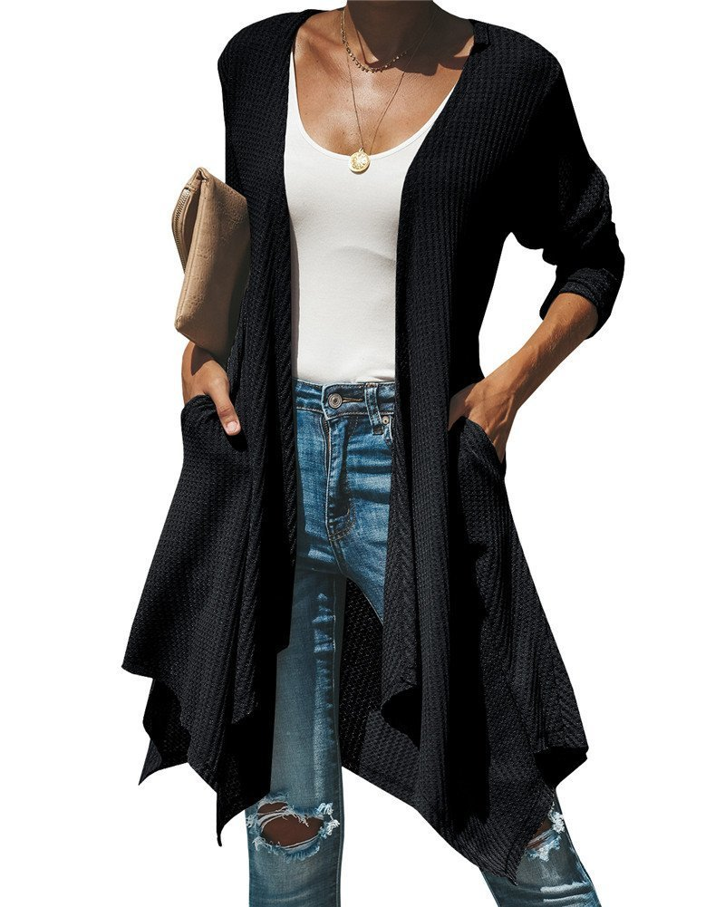 Womens Open Front Draped Long Sleeve Lightweight Sweaters Cardigan with Pockets