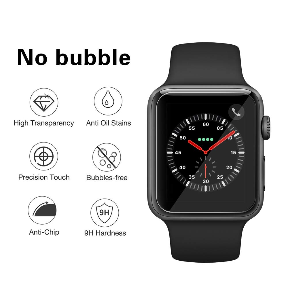 Etmury Screen Protector for Apple Watch 42mm Series 3/2/1, [6 Pack] 9H Hardness Tempered Glass Anti-Scratch Anti-Fingerprint Anti-Bubble Easy Installation, iWatch Case Only Covers Flat Area (Clear) by Etmury (Image #5)