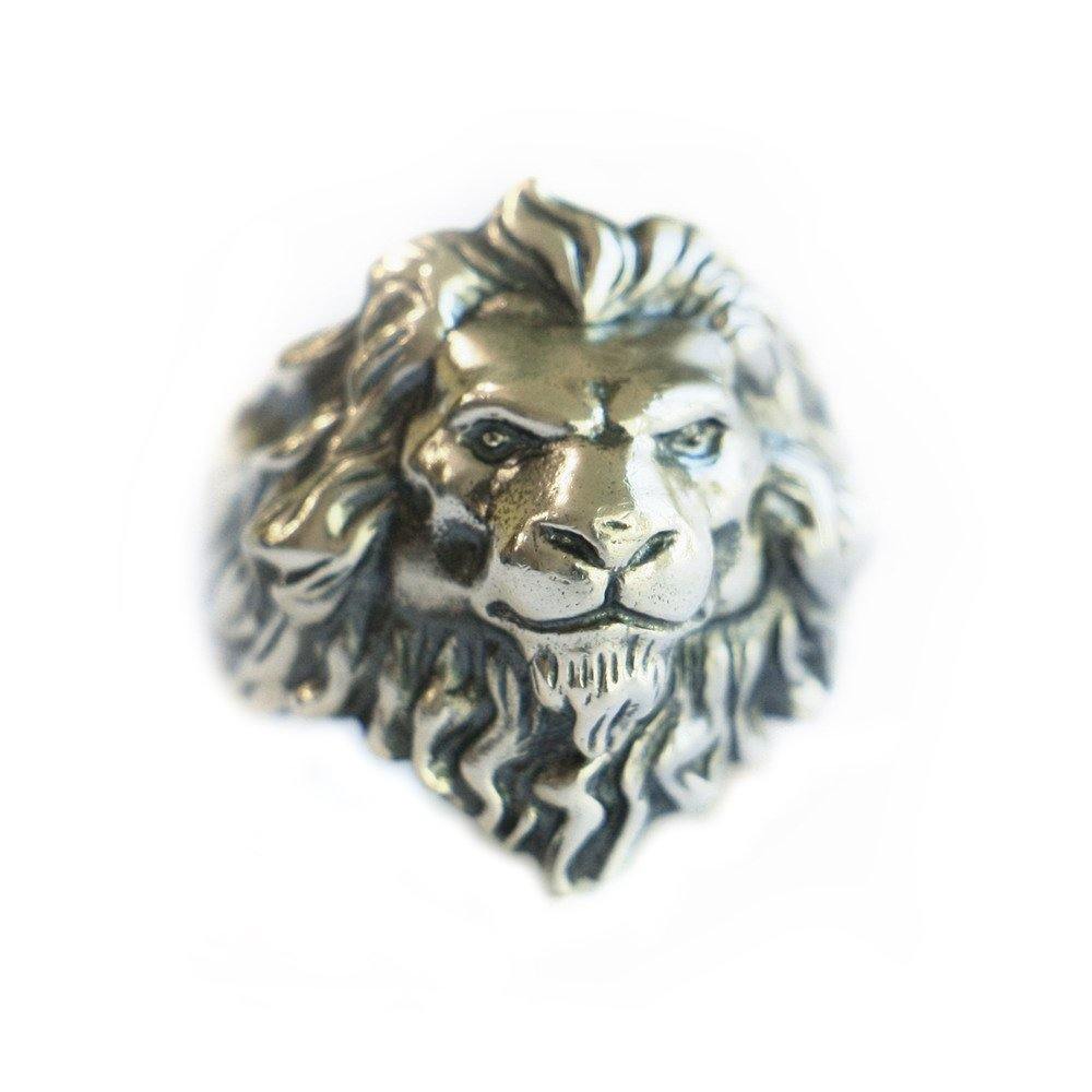 LINSION 925 Sterling Silver King of Lion Ring Mens Biker Ring TA109