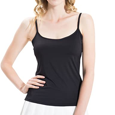 99796a9a698aa HBY Womens Camisole Built In Shelf Padded Cami Bra Adjustable Straps Tank  Top