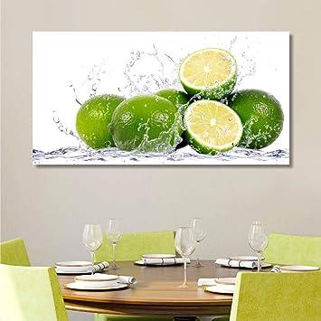 Quadri L&C ITALIA Lime Quadro Cucina con Frutta - 90 x 45 cm Stampe su Tela  da Parete, Quadri Moderni Soggiorno, Decorazioni Ristorante, Limoni Verde  ...