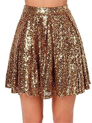 Arctic Cubic Highwaist Shiny Metallic Sequin Pleated Mini A-Line Skirt