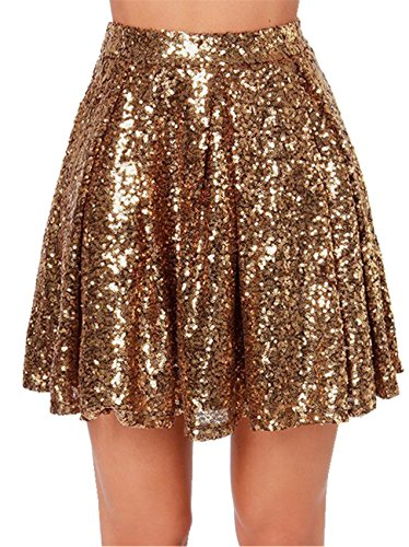 Arctic Cubic Highwaist Shiny Metallic Sequin Pleated Mini A-Line Skirt Gold S