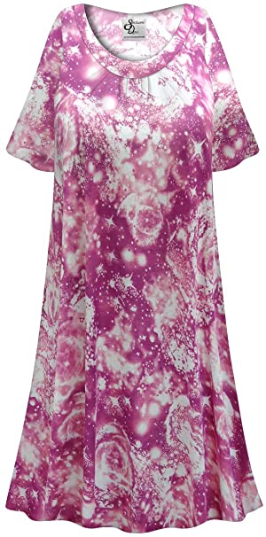 Purple Galaxy Print Plus Size Poly/Cotton Nightgown at ...