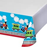 Creative Converting Border Print Plastic Tablecover, All Aboard