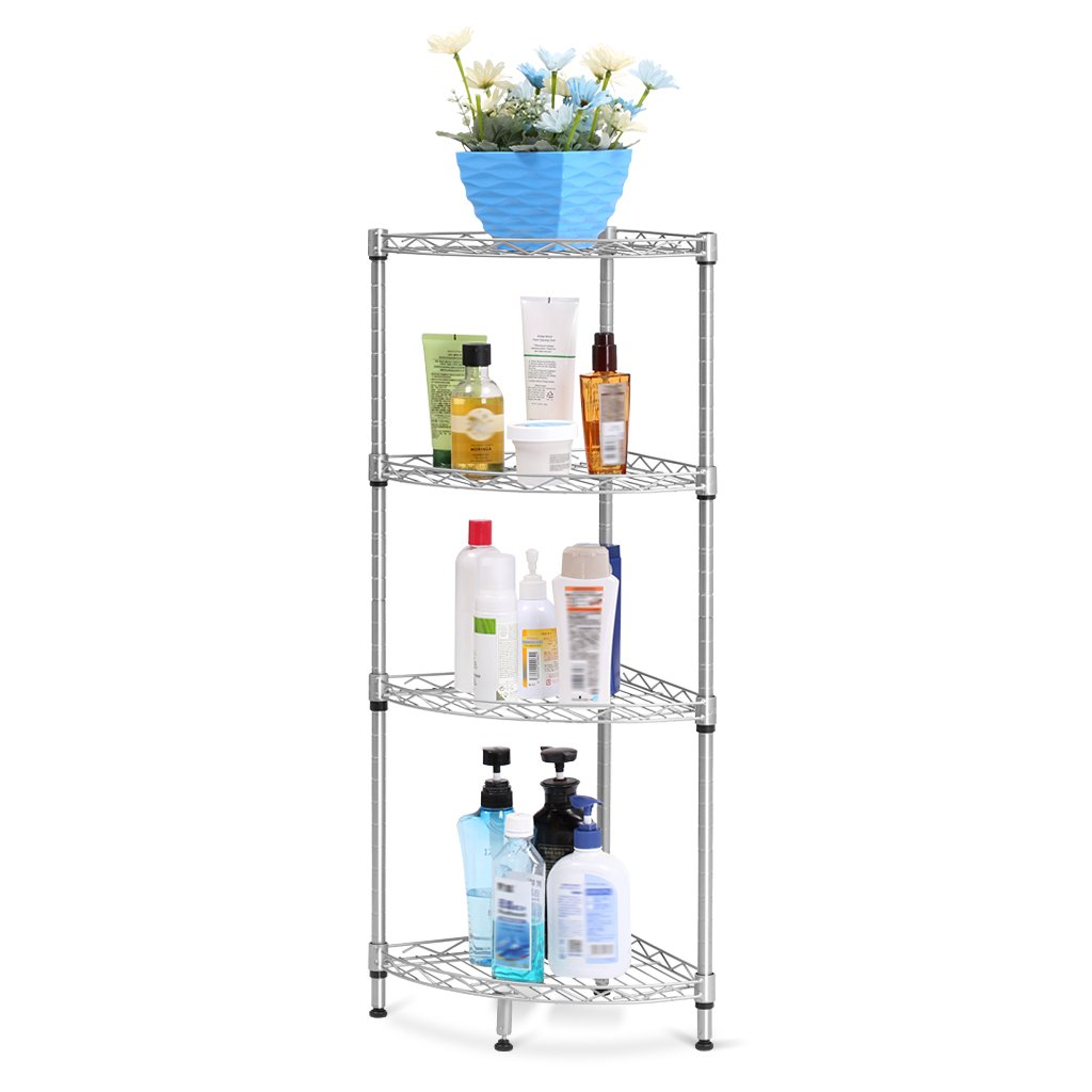 Amazon LANGRIA 4 Tire Bathroom Corner Shelf Wire Storage Shelving Free Standing Rack Display Kitchen ShelfSilver Home