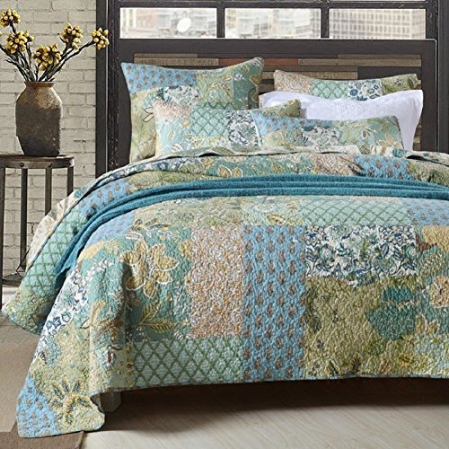 Retro Comforter Set Floral Paisley Printed Pattern 100 Cotton Patchwork Bedspreads Quilt Sets King Size (King 100 Cotton Quilt)