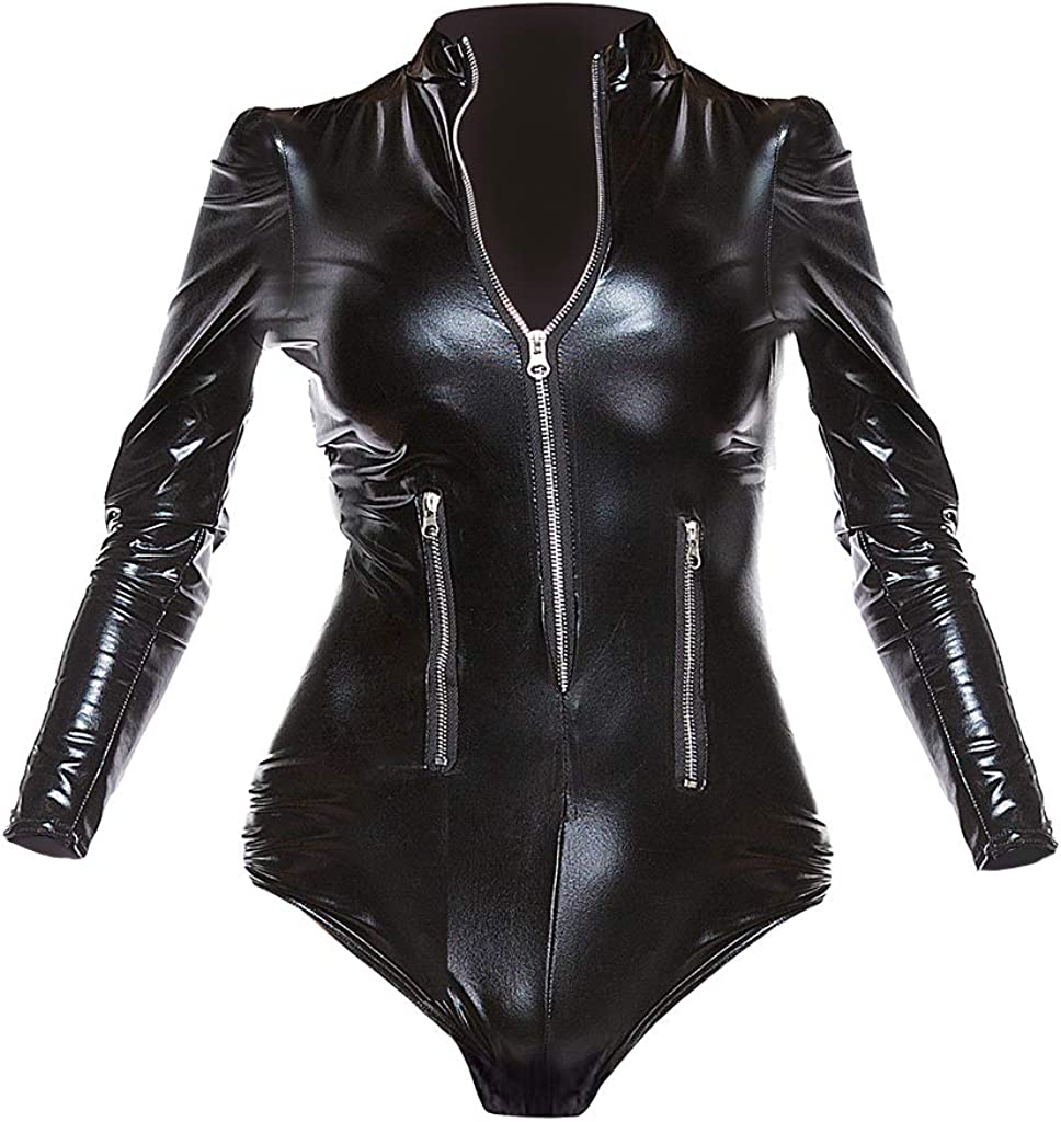 joyMerit パテントレザー ボディースーツ 長袖 防水性 快適 キャットスーツ レオタード コルセット 7サイズ