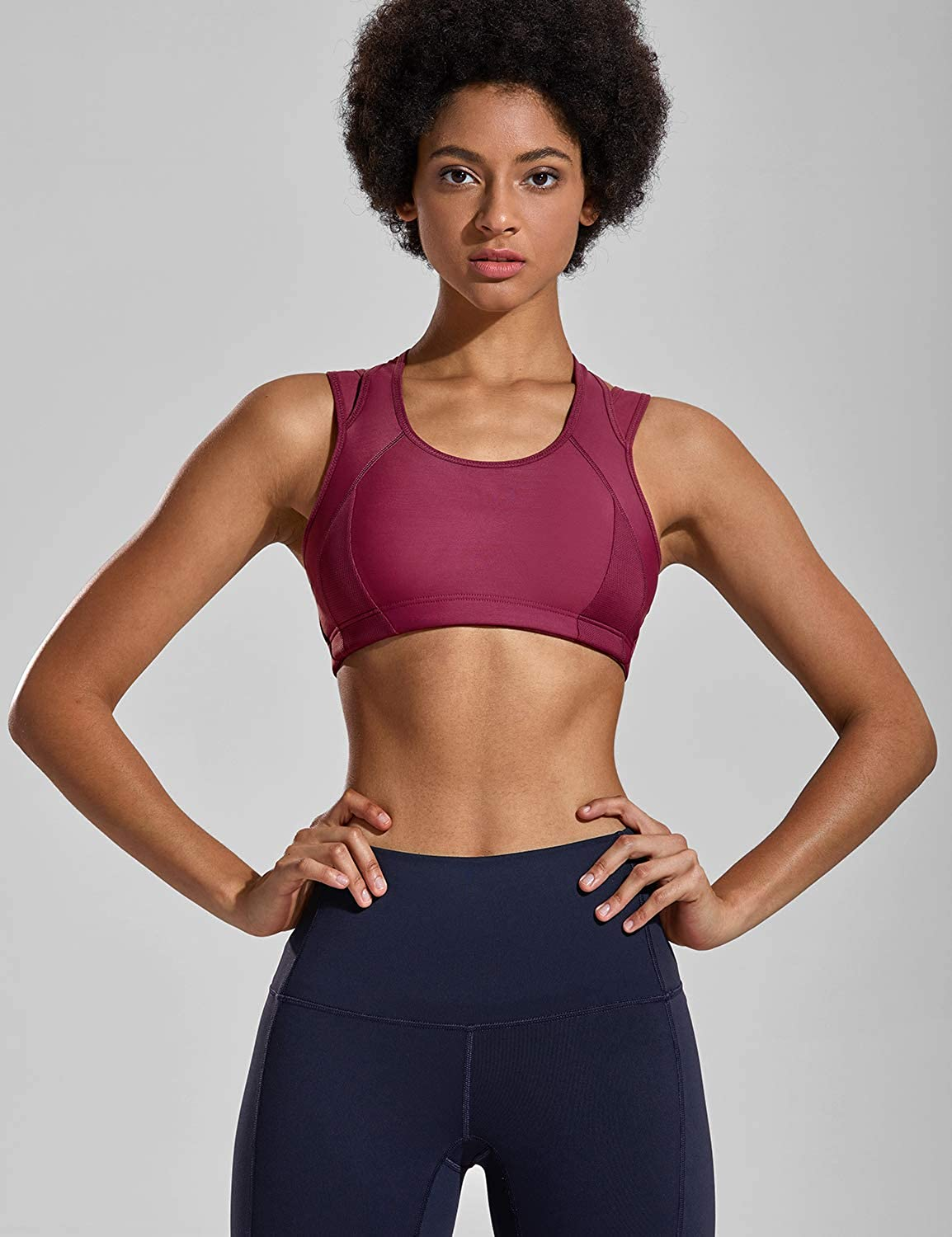 SYROKAN Womens Workout Sports Bra High Impact Support Bounce Control Wirefree Mesh Racerback Top