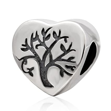 7e6c73909 Amazon.com: Tree of Life Charm 925 Sterling Silver Heart Charm Tree Charm  Family Charm Love Charm fit for Pandora Bracelet (D): Arts, Crafts & Sewing