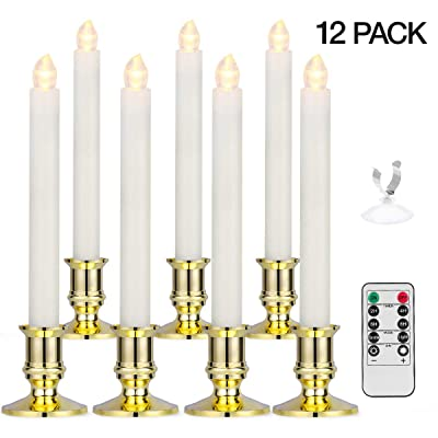 Window Candles, YUNLIGHTS 12 Pack Battery Powered Window Candles Flameless Taper Candles with Remote Control, Timer, Removable Gold Holders and Suction Cups for Window, Christmas, Holiday Decorations: Home Improvement